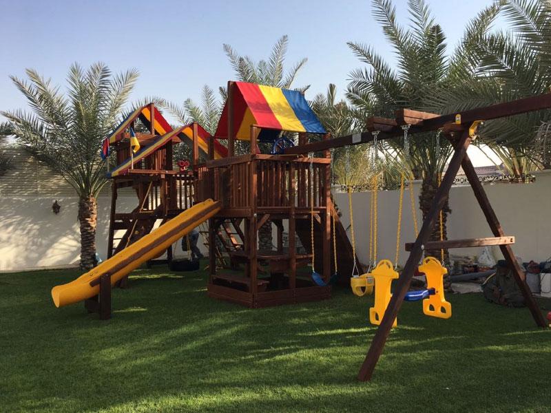 garden slide swing play installation
